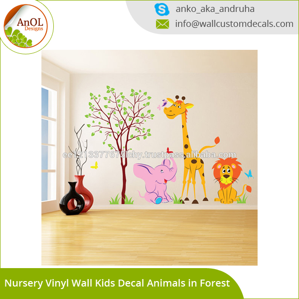 Baby Giraffe Lion Elephant Vinyl Sticker Child Kids Room Decor Decal Stickers