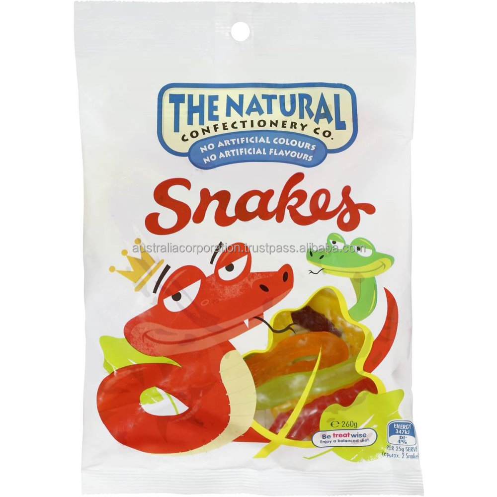 The Natural Confectionery Co Snakes 260g Jelly candy lolli