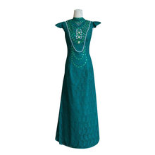 EMERALD GREEN DRESS LACE EVENING GOWN WITH FLOWER DETAILING FROM MALAYSIA