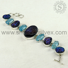 Shining diva druzy gemstone bracelet prong setting stones jewelry 925 sterling silver wholesaler