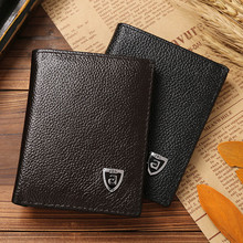 JINBAOLAI brand design PU leather solid multi - functional magnetic three fold short men 's wallet business coin purse