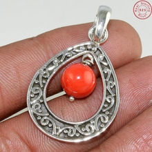 Spectacular red coral pendant indian silver jewelry gemstone silver pendant offering 925 sterling silver jewelry