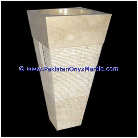 Special design unique shaped marble pedestals sinks basins handcarved wash basins free standing Beige marble