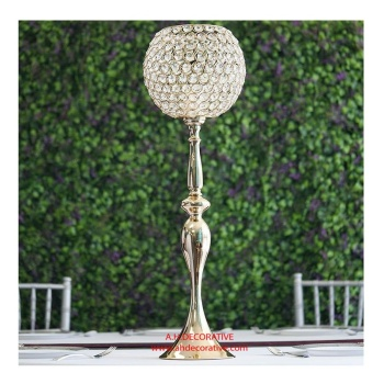 Gold Crystal Globe Candle Holder