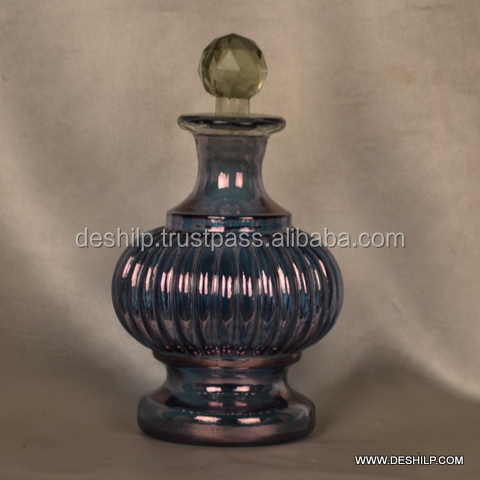 BLUE LUSTER COLOR GLASS DECANTER WITH STOPPER