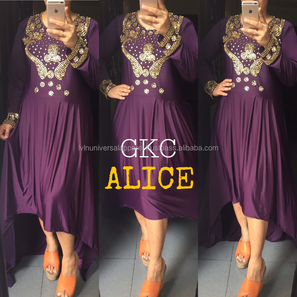 GKC-Alice Purple Spandex High Low Prom Dresses Long Sleeves Cheap Formal Evening Party Gowns Dress 2018 Plus Size Kaftan