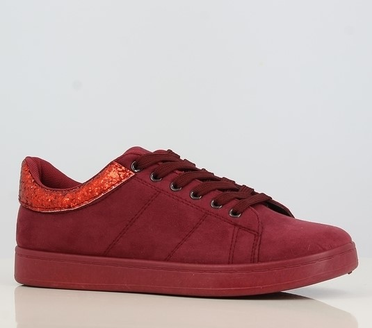 Suede sneakers for women - glitter detail - in burgundy (red) or navy - winter/fall footwear for ladies