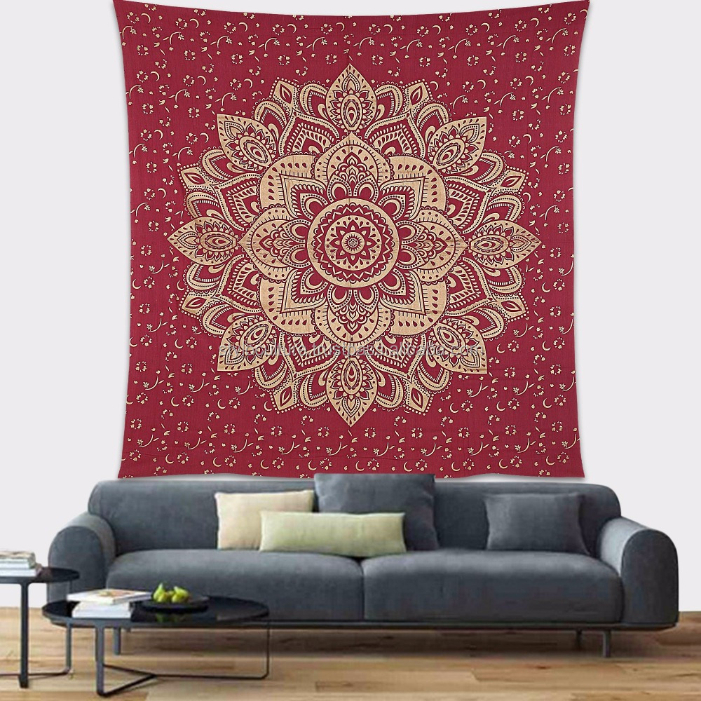 Indian Wholesale Wall Tapestry Gold Throw Printed 100% Cotton Wall Decoration Floral Queen Mandala Wall Hanging