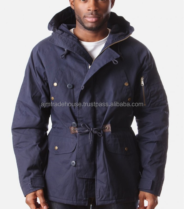 New trendy European winter jackets 100% cotton padded parka jacket for men with fur trim hood