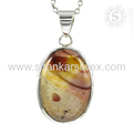 New shiny oval shape pendant mookaite gemstone 925 sterling silver jewelry online exporters