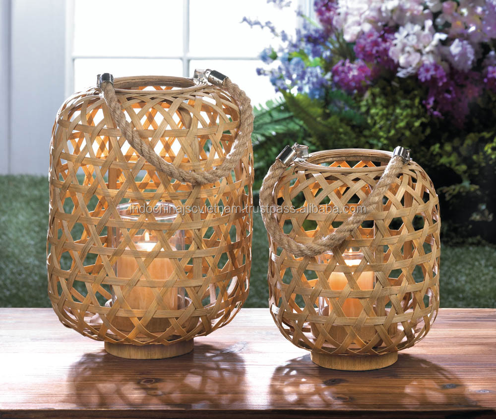 Home decoration Vietnam bamboo lantern with candle holder made of glass