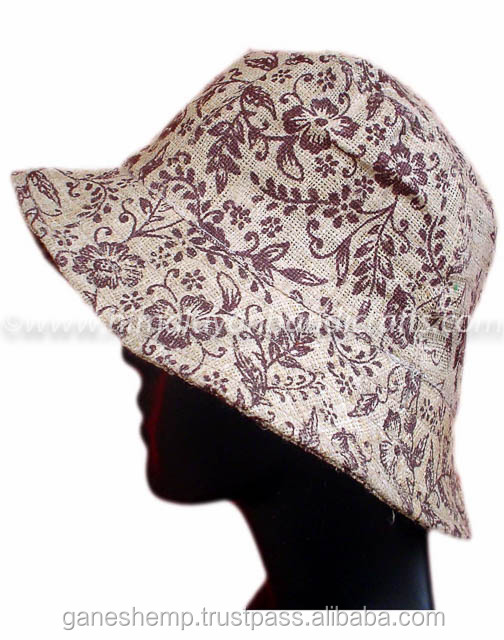 FLower print Hemp Safari Hat HSH 0010