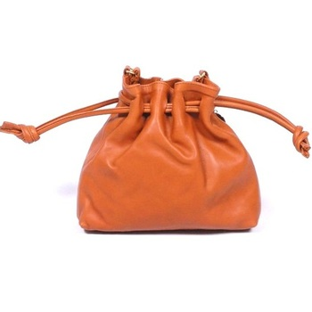 Leather Small Coin Bag With Drawstring Closure