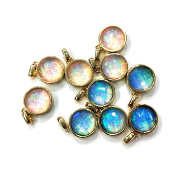 Small faceted Opal Round Circle pendants Gold or silver Drop Bezel Charm 12mm Gemstone Gold Rimmed Pendant