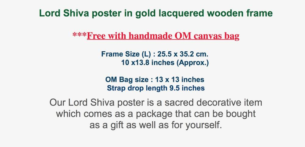 Lord Shiva poster in frame (L size) ** Free with handmade OM canvas bag