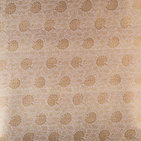 Beige floral jal hand woven pure silk tanchoi / jacquard fabric