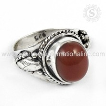 Red onyx gemstone silver rings 925 sterling silver jewellery indian handmade silver rings manufacturer