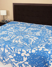Wholesale Applique Work White And Blue Cotton Bedspread