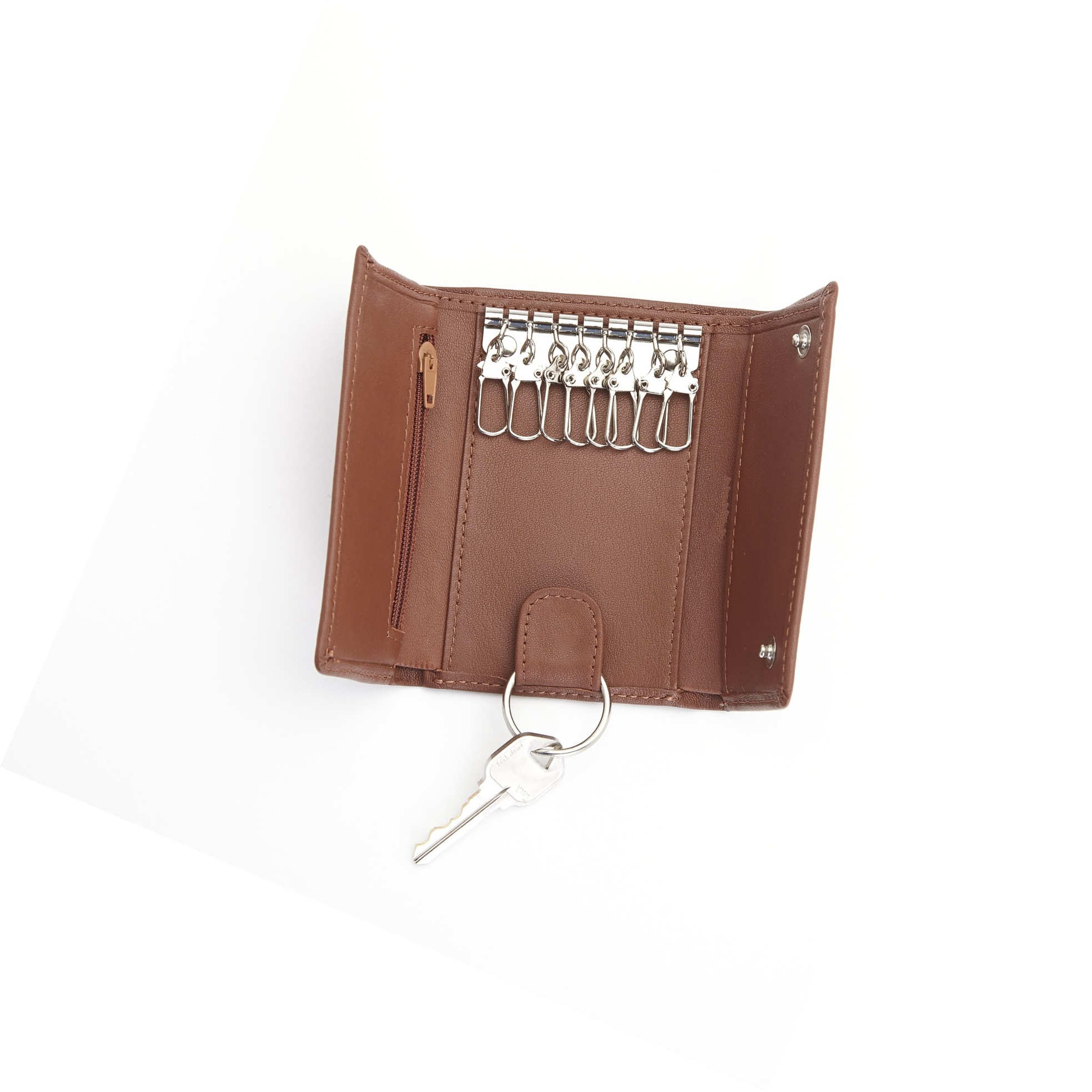 Large Leather Key Case Key Wallet With 1 Zip Pocket