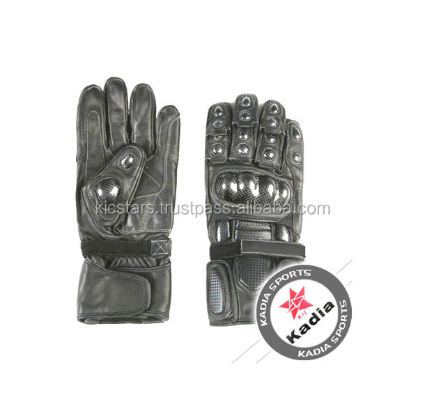 Motorbike leather gloves with knuckle protection