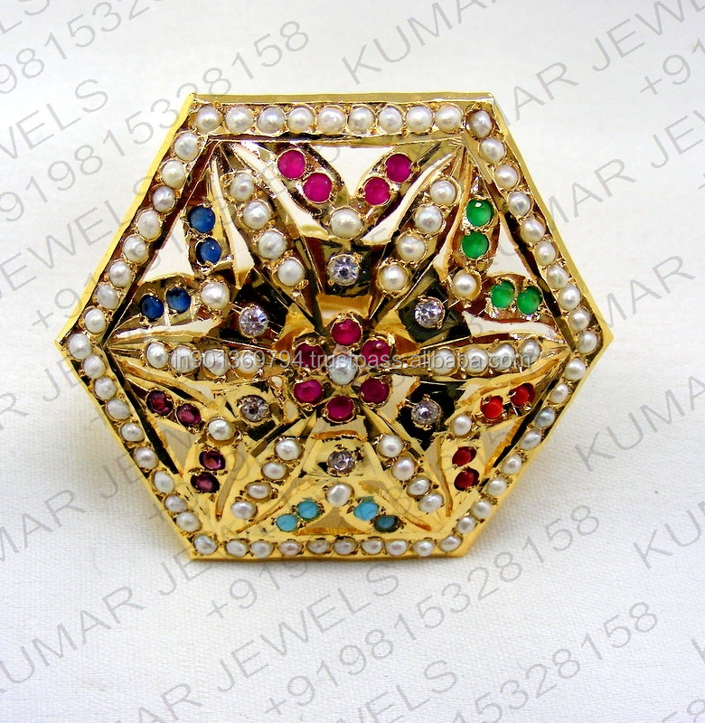 Big Jadau Traditional Mughal Style Navratan CZ Pearl Stone Beaded 22kt Gold Plated Cocktail Latest Finger Ring