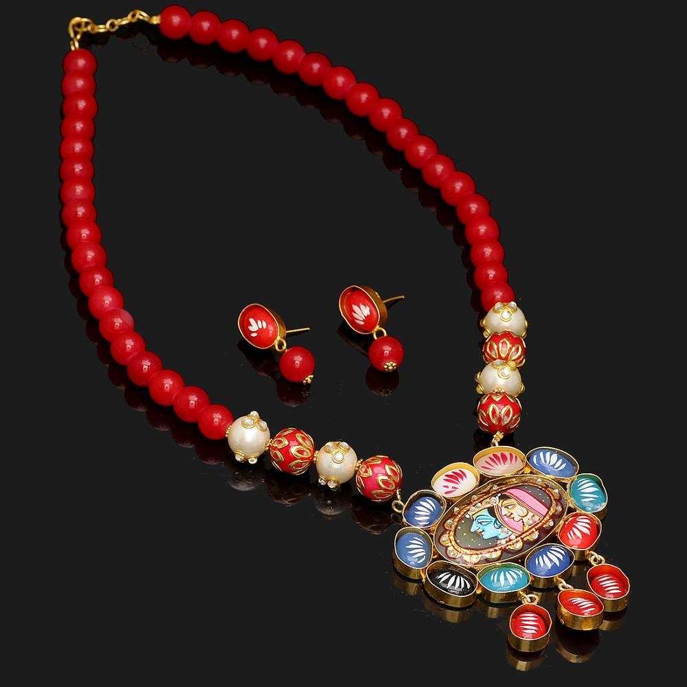 Jaipur Mart Gold Plated Maroon Color Colored Glass Stone, Color Beads, Pearl Necklaces With Earrings