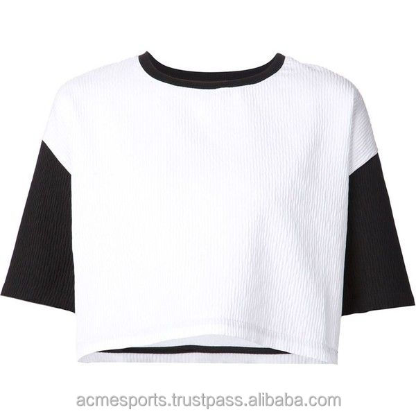 High Quality ladies slim fit top crop t shirts - latest top sell fashion women t shirt white crop top oversize wholesale