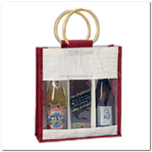 3 bottles wood handle Jute/Burlap wine bag with clear window