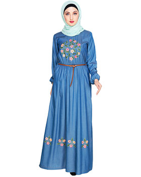 2018 Women Fashion Embroidered Muslim Long Sleeve Dubai Maxi Islamic Dress Clothing Abaya