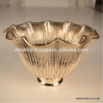 DECORATIVE FLOWER POT,GLASS PAINTED VASE,SILVER FLOWER VASE