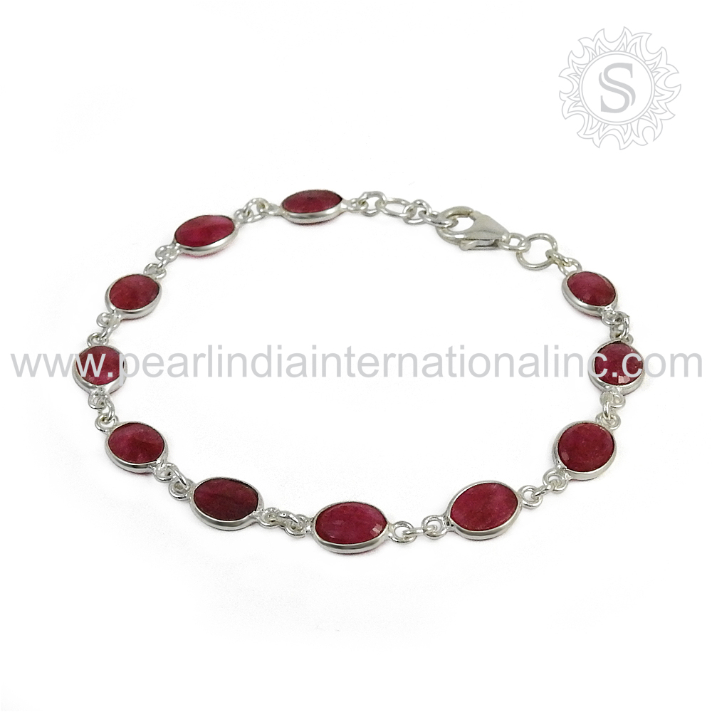 Accessories for female ruby gemstone jewellery 925 sterling silver wholesale bracelet handmade silver jewellery wholesaler