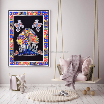 Indian Mushroom Design Poster Size Tapestry Throw Cotton Wall Decor Yoga Mat Meditation Wall Hanging