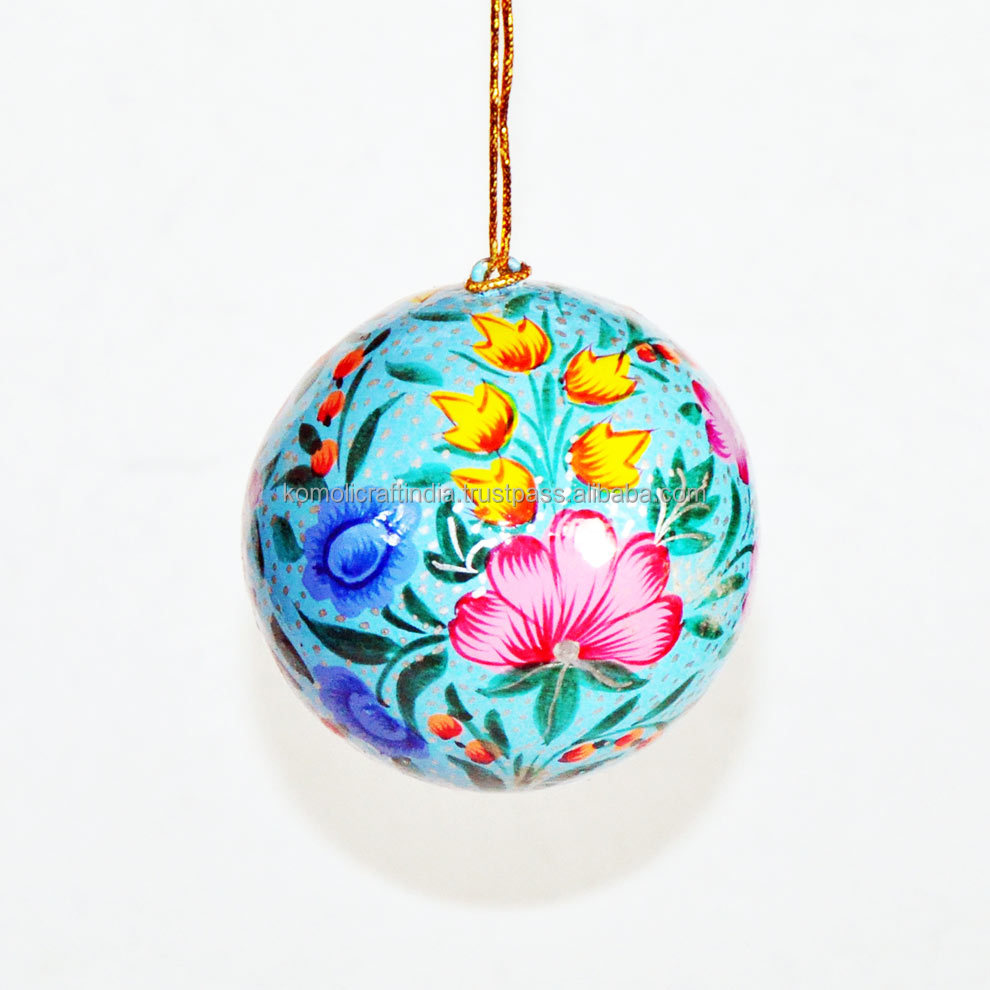 Flora handmade Xmas Christmas ornaments 2017 made in India hand painted