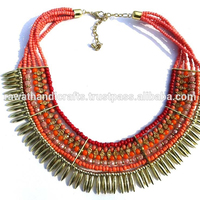 pink beads glass seed beads Indian Handmade necklace jewelry