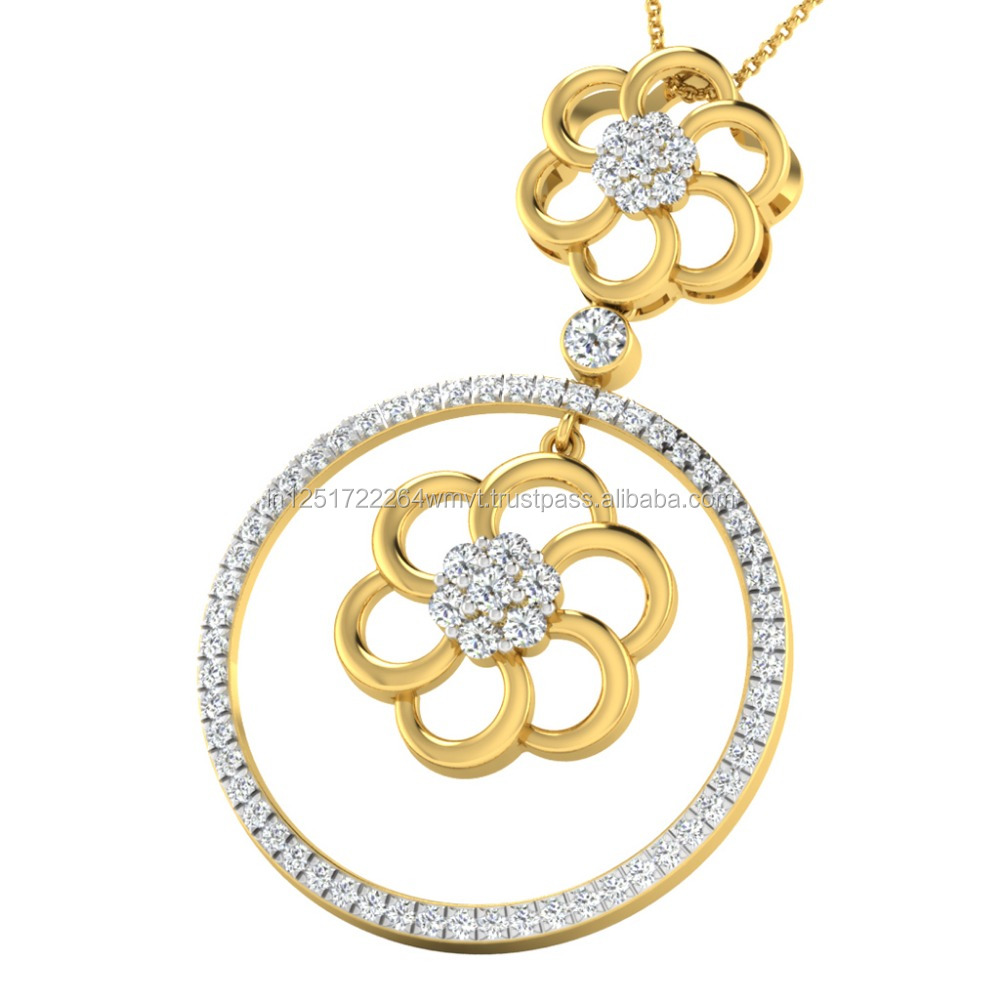 Hot Selling 2017 14k Yellow Gold Diamond Pendant For Women