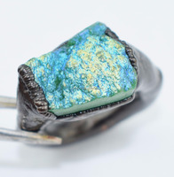 AAA 1 Piece Titanium Green Druzy Cocktail Untreated Electroformed Beautiful Gemstone Ring