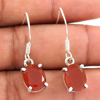 Hilarious coral 925 sterling solid silver handmade hook earrings