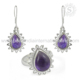 Purple amethyst gemstone silver jewelry set 925 sterling silver set exporters wholesaler