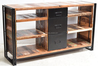 Living Room Cabinet Recycled Wood Industrial Design