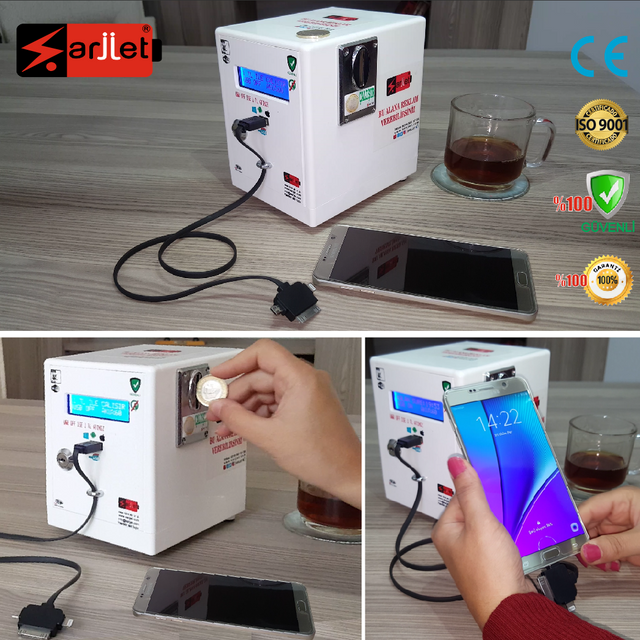 Coin Operated Cell Phone Charging Station For Cafe, Restaurant.