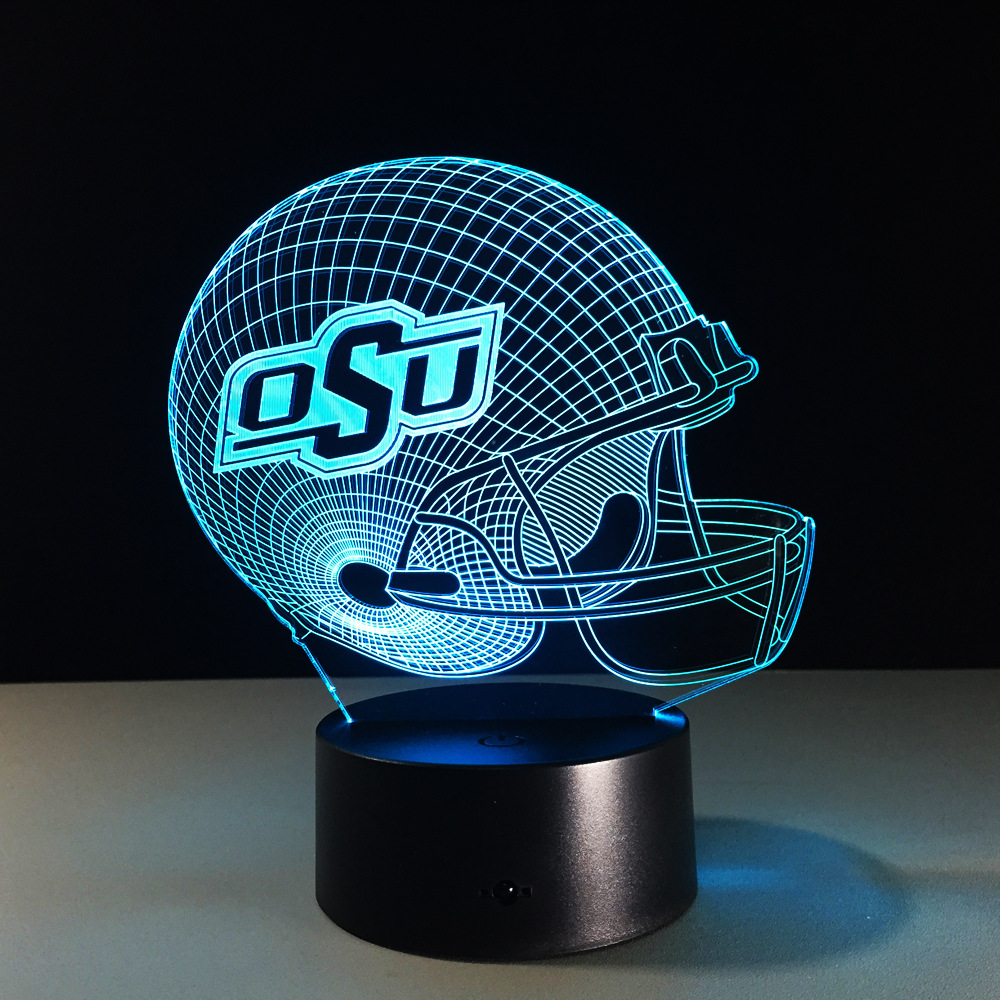 Sports NFL Baseball OSU Helmet 3D illusion Lamp Touch Button 7 Colors Change Night Light