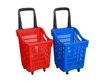 plastic supermarket shopping trolley with 4 wheels