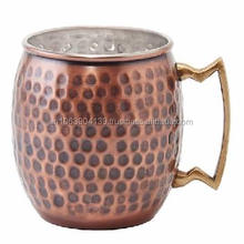 PURE SOLID DOUBLE WALLED COPPER ANTIQUE MOSCOW MULE HAMMERED BARREL MUGS WITH BRASS HANDLE