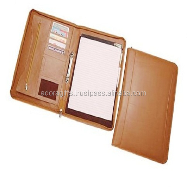 Zipper Folder Clipboard A4 Folder for Standard Letter Size A4 Writing Pad Refillable, Leather Padfolio with Inside Pocket