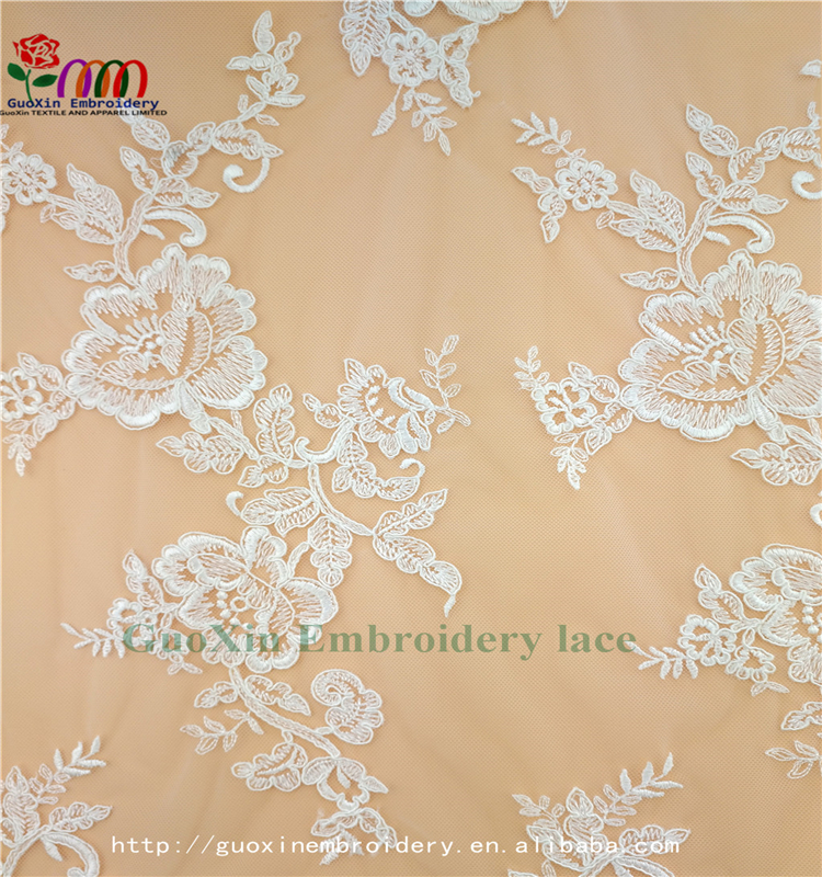 guoxin embroidery lace fabric with cording africa lace water articals for bridal dress