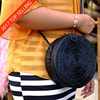 In Stock Rattan Round Bag Leather Strap Low MOQ Mix Model Accepted