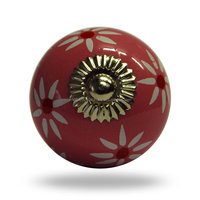Ceramic Decorative Door Knob with Floral Design - Red Tomato Flower Knob.