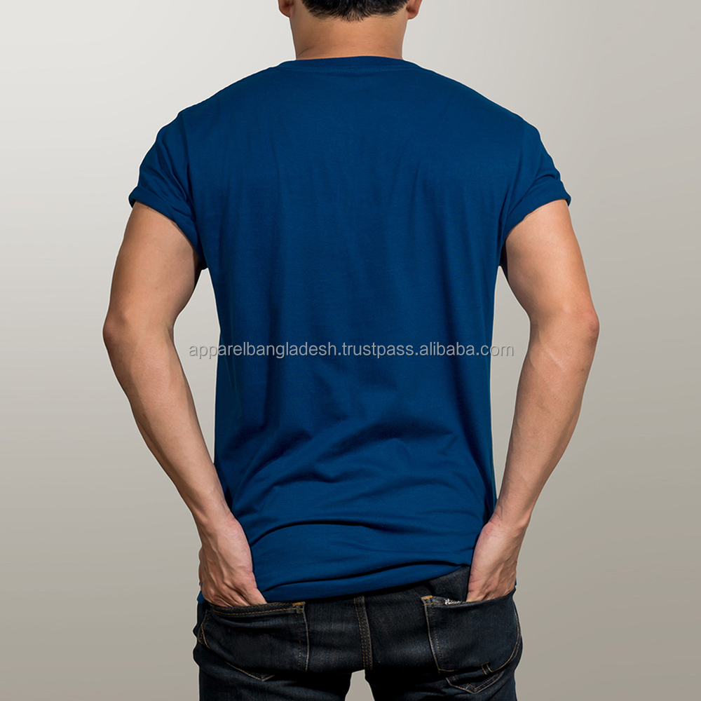 Casual Knit Fabric and Solid Dyed Men's T Shirt
