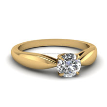 0.5 Ct Natural diamond 14k Yellow Gold diamond Solitaire Engagement ring