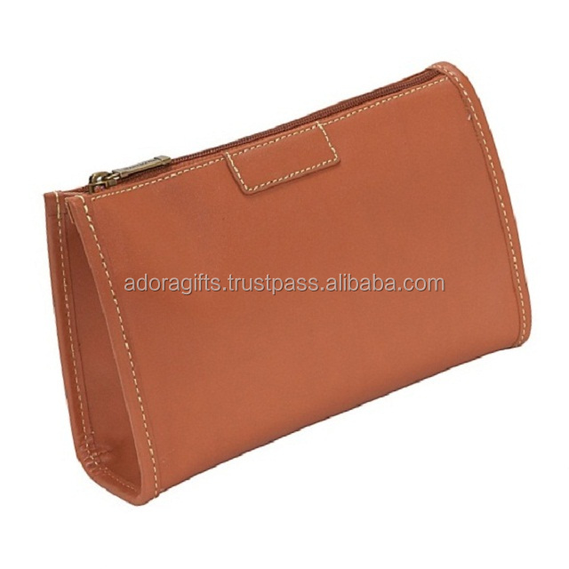 High quality fashionable wholeslale price foldable leather makeup cosmetic bag for women
